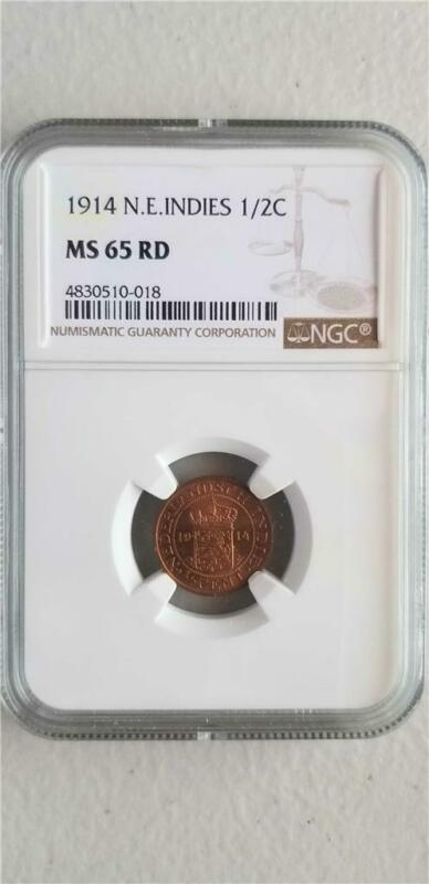 Netherlands East Indies 1/2 Cent 1914 NGC MS 65 RD