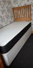 BRAND NEW Luxury Wooden Oak Divan Single Bed With 2 Storage Units