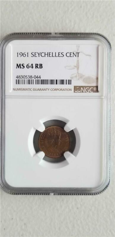 Seychelles 1 Cent 1961 NGC MS 64 RB