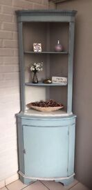 Shabby chic corner unit painted in Annie Sloan Duck egg blue..