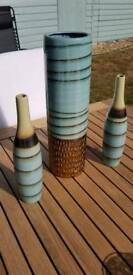 Teal and bronze ceramic vase and two matching bottles