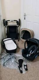 Silver cross pioneer travel system maxi cosi car seat carrycot etc
