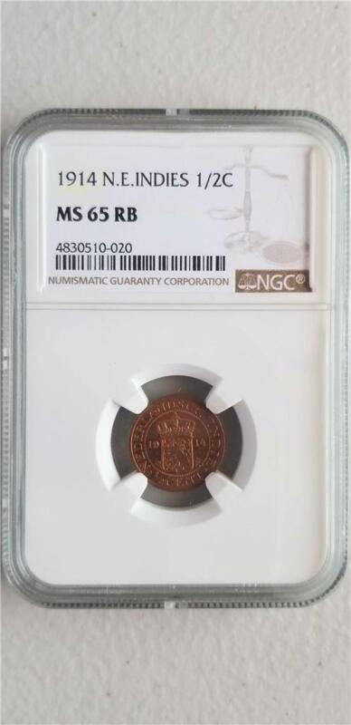 Netherlands East Indies 1/2 Cent 1914 NGC MS 65 RB