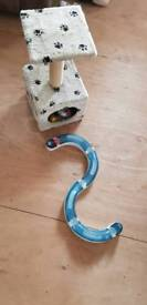 Cat climbing frame and toy