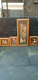 Antique kids teddy picture frame set