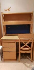 Solid Rubberwood Desk & Chair with Built In Light