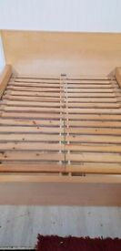 Ikea MALM king size bed, low frame, beech colour, no mattress, collection only