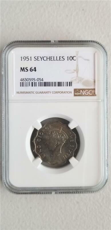 Seychelles 10 Cents 1951 NGC MS 64