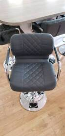 2 x Grey leather bar stools
