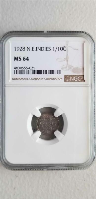 Netherlands East Indies 1/10 Gulden 1928 NGC MS 64