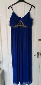 Royal blue size 18 maxi dress, with under bust detail.