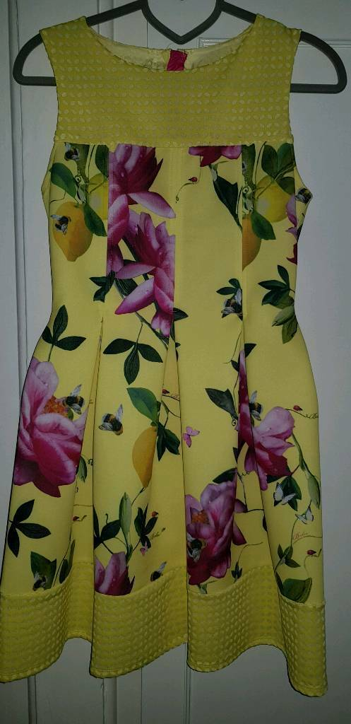 67146090a Ted Baker - Girls  yellow floral print dress