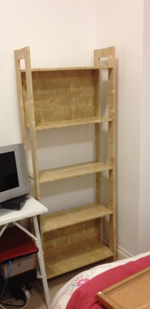Tall IKEA birch effect bookcase