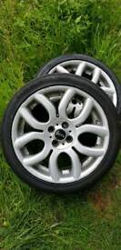 "4 X 17"" Flame alloys for Mini Nearly new tyres 205/45 ZR17  8W"