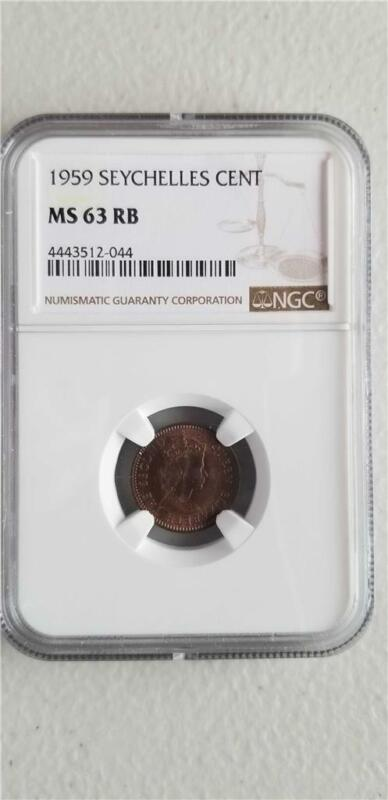 Seychelles 1 Cent 1959 NGC MS 63 RB