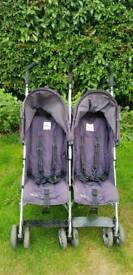 Double twin pushchair vgc dark blue foldable lightweight siting sleeping position offers