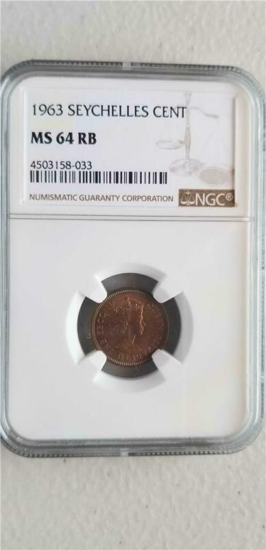 Seychelles 1 Cent 1963 NGC MS 64 RB