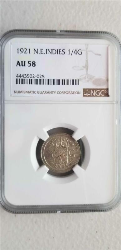 Netherlands East Indies 1/4 Gulden 1921 NGC AU 58