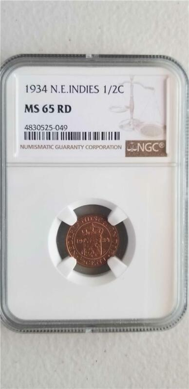 Netherlands East Indies 1/2 Cent 1934 NGC MS 65 RD