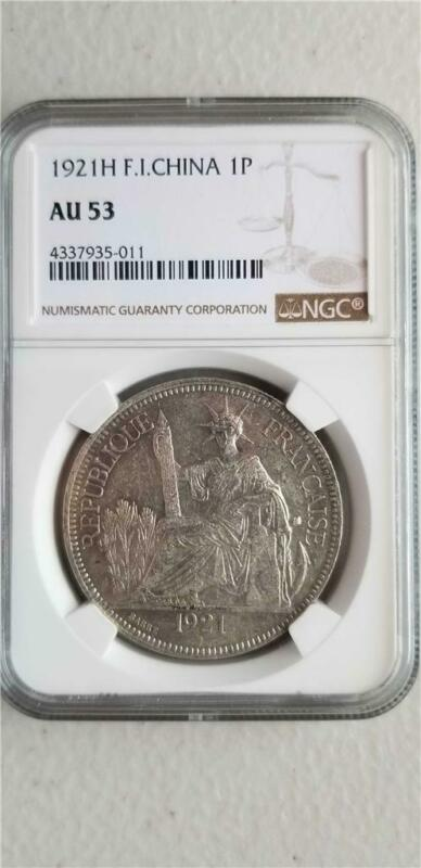 French Indochina 1 Piastre 1921H NGC AU 53