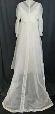 3-Pc Vintage 60s White TULLE Lace Crinoline WEDDING Dress w/Train & Veil ~ S/M