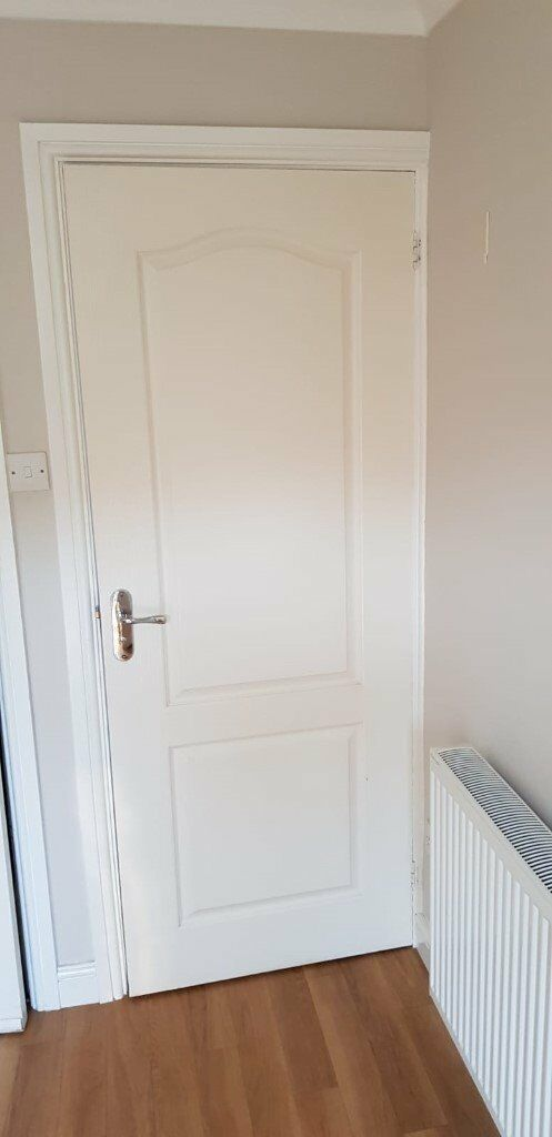 2 White Interior Doors For Sale With Handles Hinges Etc In