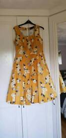 Yellow 50's style vintage dress, size 18