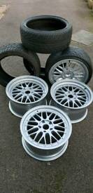 "BBS replica 18"" alloys newly refurbed with nearly new tyres"