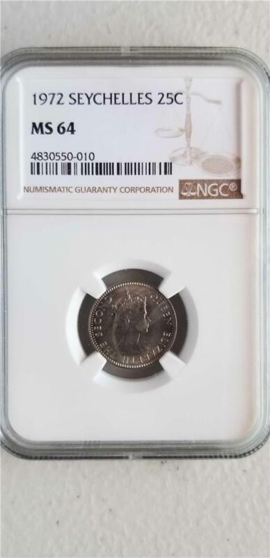 Seychelles 25 Cents 1972 NGC MS 64