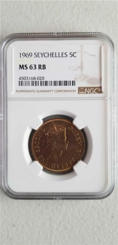 Seychelles 5 Cents 1969 NGC MS 63 RB