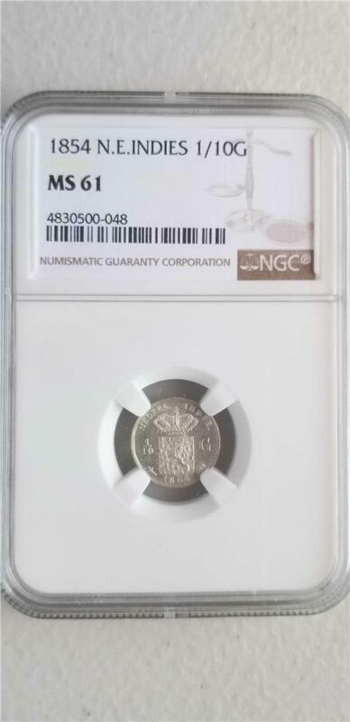 Netherlands East Indies 1/10 Gulden 1854 NGC MS 61