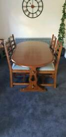 Table and chairs medium oak