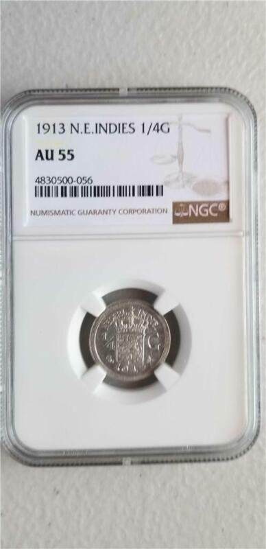 Netherlands East Indies 1/4 Gulden 1913 NGC AU 55