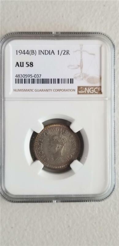 India 1/2 Rupee 1944B NGC AU 58