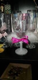 21st Keepsake glitter wine glass