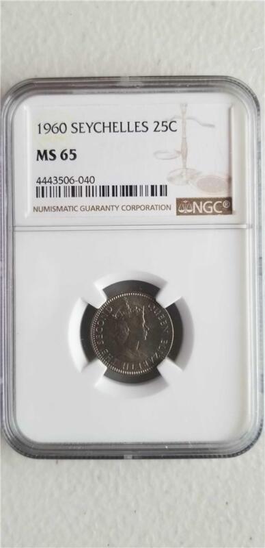 Seychelles 25 Cents 1960 NGC MS 65
