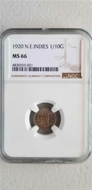 Netherlands East Indies 1/10 Gulden 1920 NGC MS 66