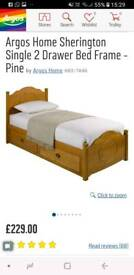 Pine wooden bed single.