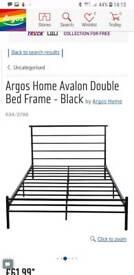 Black metal frame double bed