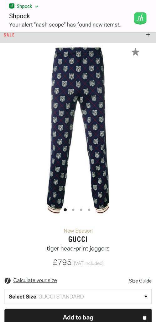 3607e3163 Mens gucci jaquard tiger-head print joggers | in Manchester | Gumtree