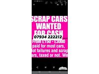 All scrap cars vans and 4x4 damaged faulty unwanted
