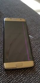 Samsung S7 edge in good condition gold in colour has a screen fault pink line on screen