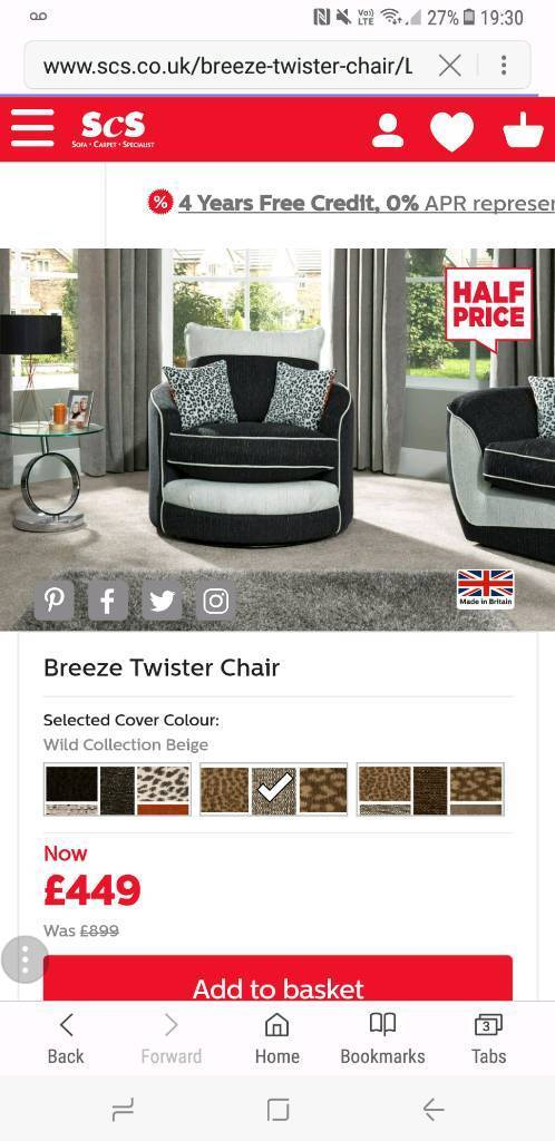 Scs Swivel Cuddle Chair In Barnsley South Yorkshire