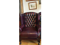 Chesterfield leather Oxblood Armchair - Classic Design