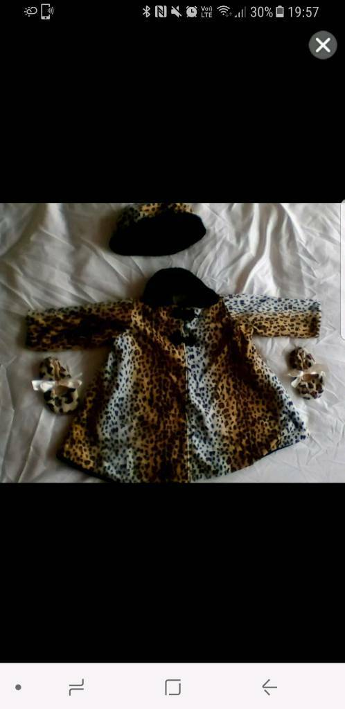 Leopard print coat hat and shoes