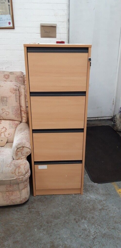 more photos 93fa6 35c95 wood effect 4 drawer filing cabinet with key £75.00 | in Gorleston, Norfolk  | Gumtree
