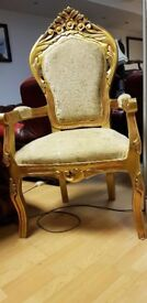 beautiful French style high bage armchair excellent condition.