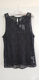 NEW LOOK BLACK LACE AND BEADED TOP NEW WITH TAGS COLLECT TOTTON OR I CAN POST OUT