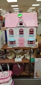 Immaculate wooden doll house full of immaculate wooden furniture