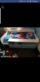 Stella Low Sleeper Bed, blue and white, single bed with 2 drawers